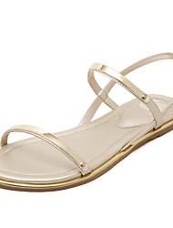 Недорогие -Жен. Обувь Полиуретан Лето Удобная обувь Сандалии На плоской подошве Золотой / Белый / Черный