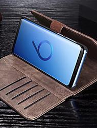 baratos -Capinha Para Samsung Galaxy S9 Plus / S9 Carteira / Porta-Cartão / Flip Capa Proteção Completa Sólido Rígida PU Leather para S9 / S9 Plus / S8 Plus