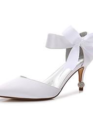 Недорогие -Жен. Обувь Сатин Весна Удобная обувь / Туфли д'Орсе / Туфли лодочки Свадебная обувь На конусовидном каблуке Заостренный носок Бант /