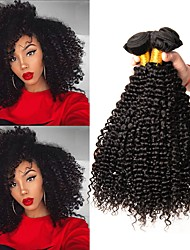 cheap -Brazilian Hair / Kinky Curly Curly Human Hair Extensions Human Hair Weaves Soft / Sexy Lady / Hot Sale Natural Black Women's