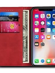baratos -Capinha Para Apple iPhone X iPhone 8 Plus Porta-Cartão Carteira Flip Capa Proteção Completa Sólido Rígida PU Leather para iPhone X iPhone