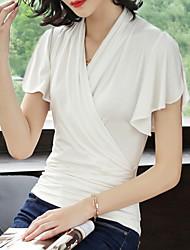 abordables -Tee-shirt Femme, Couleur Pleine Mignon Basique
