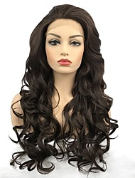billige -Syntetisk Lace Front Parykker Krøllet Mellemdel Afrikanske fletninger Brun Dame Blonde Front Celebrity Paryk / Naturlig paryk Lang