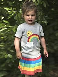 Недорогие -Дети / Дети (1-4 лет) Девочки Радужный / Пэчворк С короткими рукавами Футболка