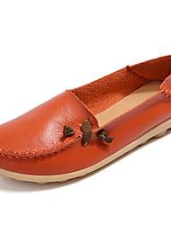 baratos -Mulheres Sapatos Pele Primavera / Verão Mocassim Mocassins e Slip-Ons Sem Salto Ponta Redonda Laranja / Vermelho / Verde