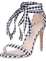 cheap -Women's Shoes Linen Summer Ankle Strap Sandals Stiletto Heel Open Toe Black / White / Party & Evening / Party & Evening