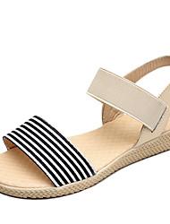 Недорогие -Жен. Обувь Ткань Лето Удобная обувь Сандалии На плоской подошве Круглый носок Черный / Бежевый