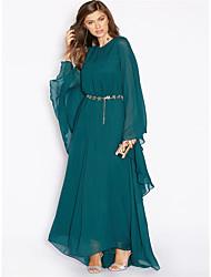 abordables -Femme Grandes Tailles Sortie Sophistiqué / Chic de Rue Ample Courte / Gaine / Balançoire Robe - A Volants, Couleur Pleine Taille haute