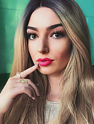 cheap -Synthetic Lace Front Wig Straight Ombre Middle Part 150% Density Synthetic Hair Heat Resistant / Women / Fashion Ombre Wig Women's Long Lace Front / Yes