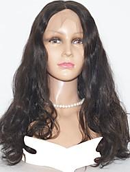 Недорогие -Натуральные волосы Полностью ленточные Парик Индийские волосы Волнистый Парик 130% Натуральный / Необработанные / удобный Нейтральный Средняя длина Парики из натуральных волос на кружевной основе