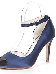 baratos -Mulheres Sapatos Cetim Primavera Verão Plataforma Básica Sapatos De Casamento Salto Agulha Peep Toe Pérolas Sintéticas Vermelho /