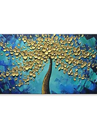 cheap -STYLEDECOR Modern Hand Painted the Golden Tree in the Blue Oil Painting on Canvas Wall Art