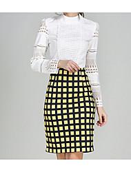 abordables -Femme Basique Moulante / Crochet Jupes - Tartan