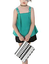 cheap -Kids Girls' Active Color Block Sleeveless Clothing Set