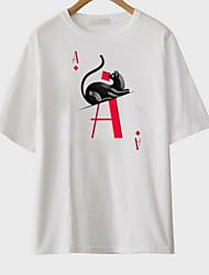 abordables -Mujer Algodón Camiseta Un Color / Letra / Animal