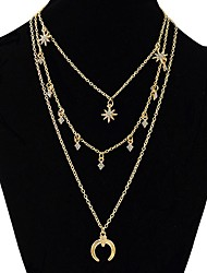baratos -Mulheres Multi Camadas MOON Gema colares em camadas  -  Doce / Fashion / Multi Camadas Forma Geométrica Dourado / Prata 63cm Colar Para