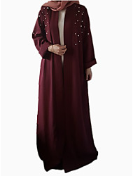 cheap -Women's Vintage / Basic Abaya / Jalabiya Dress - Solid Colored / Color Block Lace up / Pearl