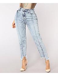 economico -Per donna Essenziale Moda città Jeans Pantaloni - Tinta unita