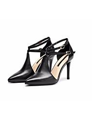preiswerte -Damen Schuhe Nappaleder / Leder Sommer Komfort / Pumps High Heels Stöckelabsatz Weiß / Schwarz
