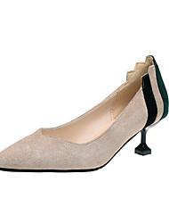 baratos -Mulheres Sapatos Camurça / Couro Ecológico Verão Conforto Saltos Caminhada Salto Agulha Dedo Apontado Presilha Preto / Bege