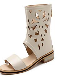 baratos -Mulheres Sapatos Couro Ecológico Primavera Verão Inovador / Botas da Moda Sandálias Salto de bloco Dedo Aberto Preto / Bege / Amarelo