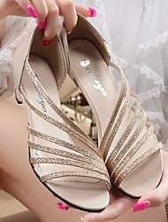 preiswerte -Damen Schuhe PU Sommer Komfort Sandalen Blockabsatz Gold / Silber / Purpur