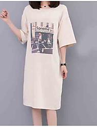 Недорогие -женская футболка - письмо / портрет на шею