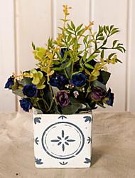 baratos -Flores artificiais 1 Ramo Rústico Rosas Flor de Mesa