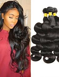 Недорогие -4 Связки Перуанские волосы Волнистый 8A Необработанные натуральные волосы Человека ткет Волосы Накладки из натуральных волос Естественный цвет Ткет человеческих волос
