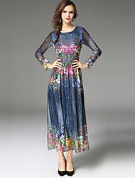 baratos -Mulheres Vintage Moda de Rua Evasê balanço Vestido - Renda Estampado, Floral Longo