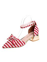 baratos -Mulheres Sapatos Tecido / Couro Ecológico Primavera Verão Conforto Rasos Caminhada Salto de bloco Dedo Apontado Laço Preto / Vermelho