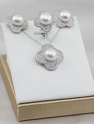 baratos -Mulheres S925 Sterling Silver / Pérolas de água doce Luxo Flor Conjunto de jóias 1 Anél / Brincos / Pingente 1PC - Luxo / Clássico /