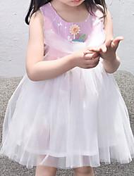 Недорогие -Дети (1-4 лет) Девочки Цветок солнца Цветочный принт С короткими рукавами Платье