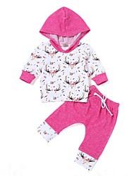 billige -Baby Pige Trykt mønster Langærmet Tøjsæt