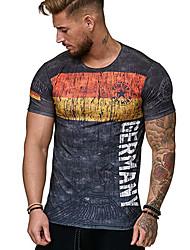baratos -Homens Camiseta Moda de Rua Estampado, Listrado Estampa Colorida Letra