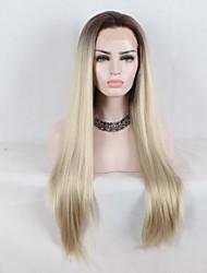 abordables -Peluca Lace Front Sintéticas Recto Corte a capas Pelo sintético Rizador y enderezador Dark Brown Gold Blonde Ombre Peluca Mujer Longitud Media Encaje Frontal / Sí