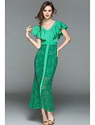 cheap -Women's Petal Sleeve Slim A Line Sheath Trumpet / Mermaid Dress - Solid Colored Lace Maxi V Neck