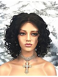 billige -Remy hår Paryk Brasiliansk hår Krøllet Kort bob 130% Massefylde Kort Dame Blondeparykker af menneskehår