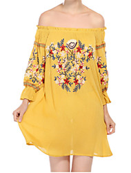 abordables -Femme Vacances Manche Gigot Coton Courte Robe - Imprimé, Fleur Epaules Dénudées Mini Noir