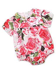 billige -Baby Pige Blomstret / Trykt mønster Kort Ærme En del