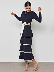 baratos -Mulheres Sofisticado / Moda de Rua Tubinho / Bainha Vestido - Laço / Camadas / Frufru, Estampa Colorida Longo Preto & Branco / Azul e