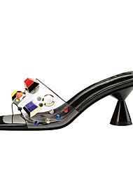 abordables -Mujer Zapatos PVC Verano Talón Descubierto Sandalias Tacón Cuadrado Punta abierta Remache / Hebilla Amarillo / Rojo / Nudo