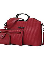 baratos -Mulheres Bolsas PU Conjuntos de saco 3 Pcs Purse Set Ziper para Compras / Escritório e Carreira Vermelho / Rosa / Cinzento