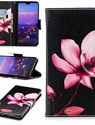abordables -Coque Pour Huawei P20 lite P20 Pro Porte Carte Portefeuille Avec Support Clapet Motif Coque Intégrale Fleur Dur faux cuir pour Huawei P20