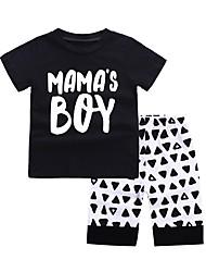 economico -Bambino (1-4 anni) Da ragazzo In bianco e nero Fantasia geometrica Manica corta Completo