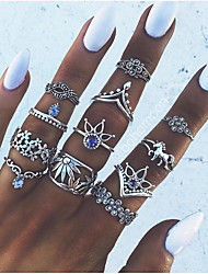 abordables -Anillo para los Nudillos / Juego de anillos - Legierung Flor Vintage, Europeo, Moda 7 Plata Para Fiesta / Diario