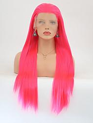 Недорогие -Синтетические кружевные передние парики Прямой Стрижка каскад / Средняя часть Искусственные волосы Природные волосы Красный Парик Жен.