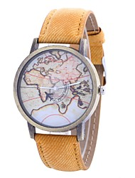 cheap -Women's Wrist Watch Quartz Casual Watch Large Dial PU Band Analog Vintage World Map Black / White / Blue - Red Green Blue One Year Battery Life