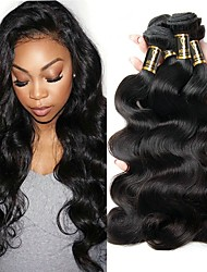 Недорогие -3 Связки Индийские волосы / Естественные кудри Волнистый Необработанные / Натуральные волосы Накладки из натуральных волос Ткет человеческих волос Мягкость / Удлинитель / Лучшее качество