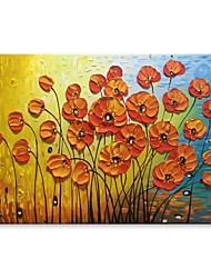 cheap -STYLEDECOR Modern Hand Painted Abstract Red and Yellow Flowers Oil Painting on Canvas for Wall Art